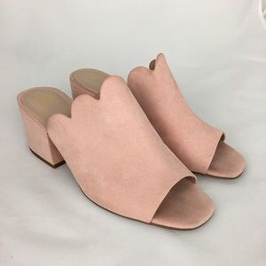 H&M Suede Scalloped Mule Chunky Heel